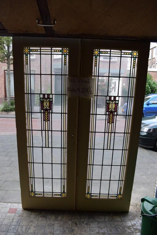 Openslaande deuren met glas in lood
